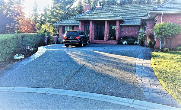 Stamped Concrete Driveway with Car