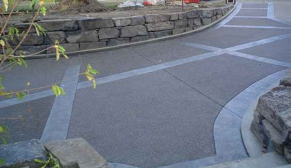 Stamped Border Driveway Concrete
