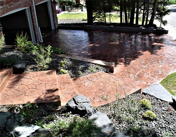 Brown Coloured Stamped Walkway
