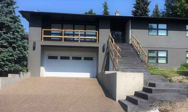 Stairs with White Garage Door