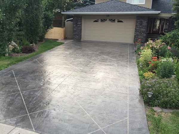 Driveway with Garage White Door