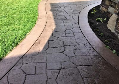 Stamped Concrete Walkway with Lawn