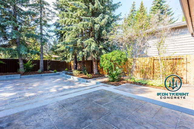 Concrete Backyard with Trees