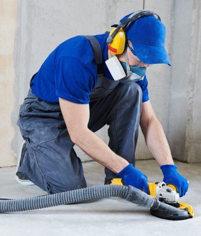 Concrete floor surface grinding